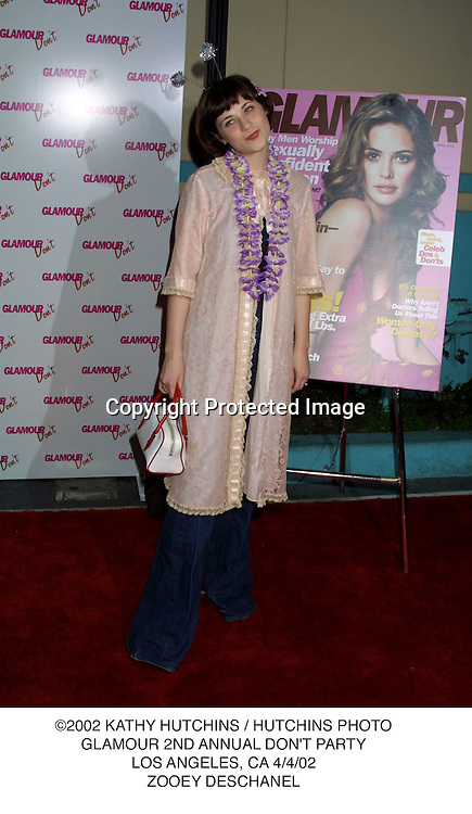 ©2002 KATHY HUTCHINS / HUTCHINS PHOTO.GLAMOUR 2ND ANNUAL DON'T PARTY.LOS ANGELES, CA 4/4/02.ZOOEY DESCHANEL