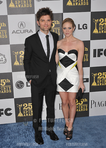 Brittany Snow & Adam Scott at the 25th Anniversary Film Independent Spirit Awards at the L.A. Live Event Deck in downtown Los Angeles..March 5, 2010  Los Angeles, CA.Picture: Paul Smith / Featureflash