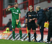Preston's Manager Alex Neil talks with Tommy Spurr<br /> <br /> Photographer Jonathan Hobley/CameraSport<br /> <br /> The EFL Sky Bet Championship - Brentford v Preston North End - Saturday 10th February 2018 - Griffin Park - Brentford<br /> <br /> World Copyright &copy; 2018 CameraSport. All rights reserved. 43 Linden Ave. Countesthorpe. Leicester. England. LE8 5PG - Tel: +44 (0) 116 277 4147 - admin@camerasport.com - www.camerasport.com