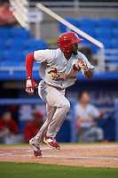 Palm Beach Cardinals outfielder C.J. McElroy (3) runs to first during the second game of a doubleheader against the Dunedin Blue Jays on July 31, 2015 at Florida Auto Exchange Stadium in Dunedin, Florida.  Dunedin defeated Palm Beach 4-0.  (Mike Janes/Four Seam Images)