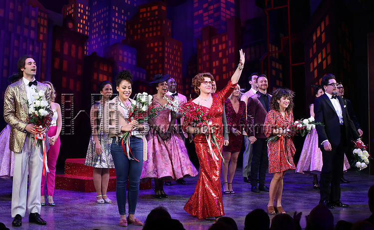 "John Behlmann, Lilli Cooper, Santino Fontana, Sarah Stiles, Reg Rogers and cast during the Broadway Opening Night of ""Tootsie"" at The Marquis Theatre on April 22, 2019  in New York City."