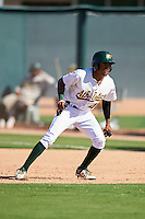 Oakland Athletics Jeramiah McCray (4) during an Instructional League game against the San Francisco Giants on October 5, 2016 at Fitch Park in Mesa, Arizona.  (Mike Janes/Four Seam Images)