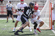 College Park, MD - May 14, 2017: Bryant Bulldogs Trevor Weingarten (85) keeps Maryland Terrapins Mac Pons (43) away from his stick during the NCAA first round game between Bryant and Maryland at  Capital One Field at Maryland Stadium in College Park, MD.  (Photo by Elliott Brown/Media Images International)