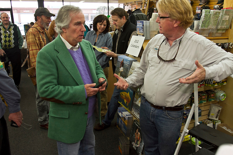 "Actor/director Henry Winkler greeted a crowd of over a hundred fans at a book signing for his ""I've Never Met An Idiot on The River"" fly fishing memoir at the Fishermans Spot in the Van Nuys section of Los Angeles Calif., December 11, 2011...Photo Gerard Burkhart.gbpix.photoshelter.com"
