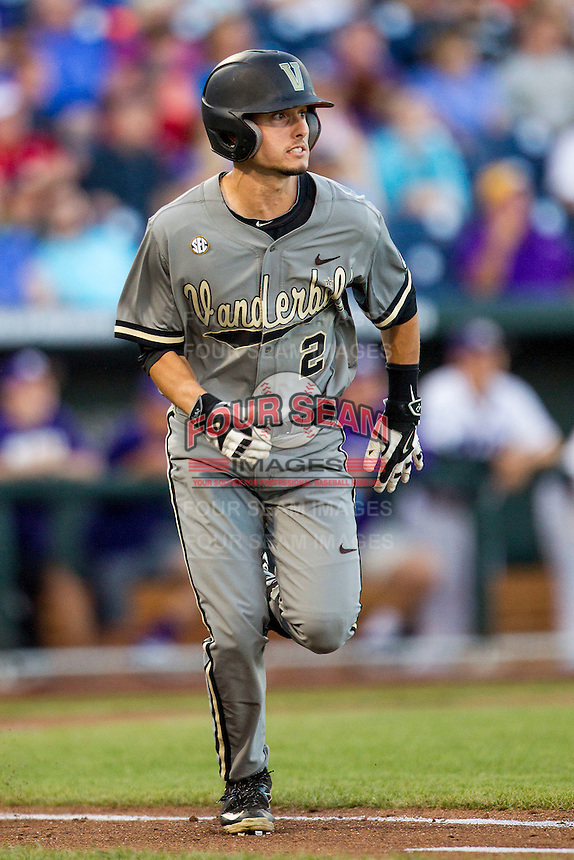 Vanderbilt Commodores second baseman Tyler Campbell (2) runs to first base during the NCAA College baseball World Series against the TCU Horned Frogs on June 16, 2015 at TD Ameritrade Park in Omaha, Nebraska. Vanderbilt defeated TCU 1-0. (Andrew Woolley/Four Seam Images)