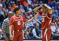 NWA Democrat-Gazette/BEN GOFF @NWABENGOFF<br /> Desi Sills (0) and Mason Jones (13), Arkansas guards, react in the second half vs Florida Thursday, March 14, 2019, during the second round game in the SEC Tournament at Bridgestone Arena in Nashville.
