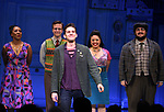 Adam Chanler-Berat with cast during the Broadway Opening Night Performance Curtain Call for 'Amelie' at the Walter Kerr Theatre on April 3, 2017 in New York City