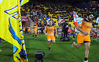 The Jaguares run out for the Super Rugby match between the Hurricanes and Jaguares at Westpac Stadium in Wellington, New Zealand on Friday, 17 May 2019. Photo: Dave Lintott / lintottphoto.co.nz