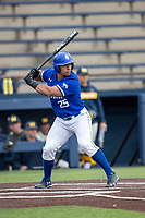 Indiana State Sycamores designated hitter Romero Harris (25) at bat against the Michigan Wolverines on April 10, 2019 in the NCAA baseball game at Ray Fisher Stadium in Ann Arbor, Michigan. Michigan defeated Indiana State 6-4. (Andrew Woolley/Four Seam Images)