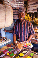 Zanzibar, Tanzania.  Spice Vendor in Darajani Market.