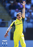 Australian bowler Marcus Stoinis appeals successfully for the wicket of Williamson.  International One Day Cricket. New Zealand Black Caps v Australia. Chappell–Hadlee Trophy, Game 1. Eden Park Monday 30 January 2017 © Copyright photo: Andrew Cornaga / www.photosport.nz
