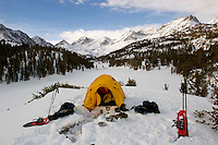 Snow camping at Rock Creek Lakes just above Heart Lake with Bear Creek peak, Pyramid Peak, Mt Dade in the distance. Camping with friend and longtime hiker and backpacker, Rod Stewart. (Photo by Anacleto Rapping ©2006)