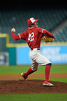 Houston Cougars relief pitcher Griffin Hattingh (42) in action against the Vanderbilt Commodores during game nine of the 2018 Shriners Hospitals for Children College Classic at Minute Maid Park on March 3, 2018 in Houston, Texas. The Commodores defeated the Cougars 9-4. (Brian Westerholt/Four Seam Images)