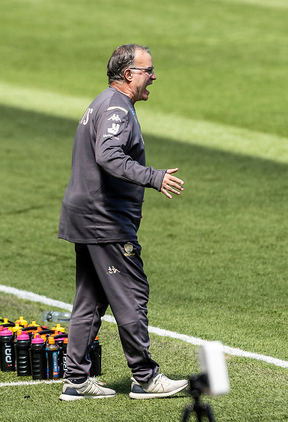 Leeds United's manager Marcelo Bielsa issuing instructions<br /> <br /> Photographer Andrew Kearns/CameraSport<br /> <br /> The EFL Sky Bet Championship - Swansea City v Leeds United - Sunday 12th July 2020 - Liberty Stadium - Swansea<br /> <br /> World Copyright © 2020 CameraSport. All rights reserved. 43 Linden Ave. Countesthorpe. Leicester. England. LE8 5PG - Tel: +44 (0) 116 277 4147 - admin@camerasport.com - www.camerasport.com