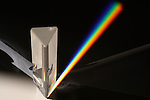 Diffraction of sunlight through prism showing light spectrum.