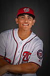 22 February 2019: Washington Nationals catcher Tres Barrera poses for his Photo Day portrait at the Ballpark of the Palm Beaches in West Palm Beach, Florida. Mandatory Credit: Ed Wolfstein Photo *** RAW (NEF) Image File Available ***