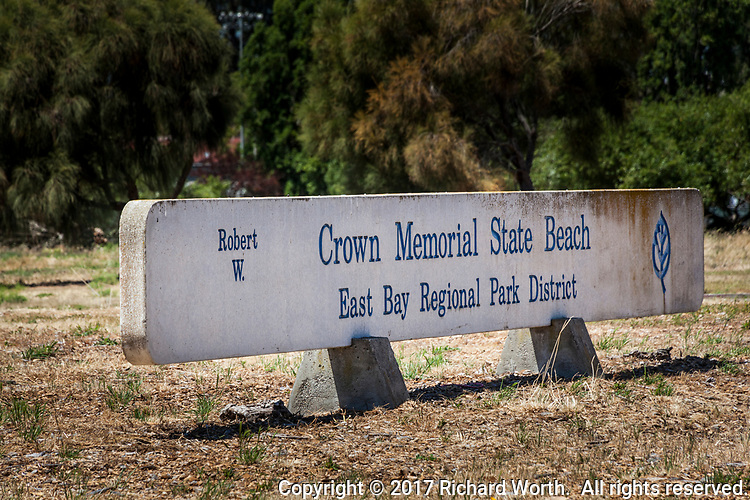 Sign at the entrance to the Robert W. Crown Memorial State Beach East Bay Regional Park District in Alameda, California.