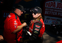 May 7, 2017; Commerce, GA, USA; NHRA pro stock driver Erica Enders-Stevens (right) and crew chief Rick Jones Sr during the Southern Nationals at Atlanta Dragway. Mandatory Credit: Mark J. Rebilas-USA TODAY Sports