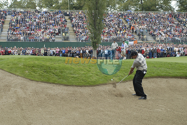 USA player Phil Mickelson chips out of the bunker at the 16th green during the Morning Fourball on Day1 of the 2006 Ryder Cup at The K Club 21st September 2006.(Photo Eoin Clarke/Newsfile)