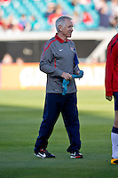 February 9, 2013:  USA Women's National Team head coach Tom Sermanni talks with  his players on the field before the start of action between the USA Women's National Team and Scotland at EverBank Field in Jacksonville, Florida.  USA defeated Scotland 4-1............