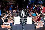 August 27, 2010. Raleigh, North Carolina.. Amateur round of Halo 3. Although there were professional rounds of play, many amateurs payed a fee to play in large rounds of gamers, all who had to bring their own controllers. . Major League Gaming (MLG), the league for professional videogame players, held their 50th Pro Circuit competition at the Raleigh Convention Center, with gamers from all over the country coming to for 3 days of competition in Halo 3, Tekken 6, Super Smash Bros. Brawl, Starcraft 2 and World of Warcraft.