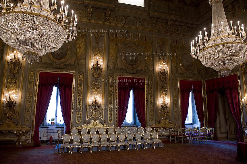 Il Salone delle Feste del Quirinale dove si svolge la cerimonia del giuramento dei nuovi Ministri