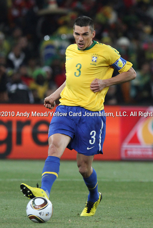 20 JUN 2010: Lucio (BRA). The Brazil National Team defeated the C'ote d'Ivoire National Team 3-1 at Soccer City Stadium in Johannesburg, South Africa in a 2010 FIFA World Cup Group G match.