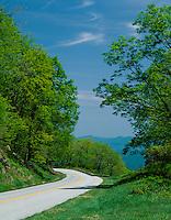 Blue Ridge Parkway, VA: Blue Ridge Parkway winds along the mountain ridges in early spring