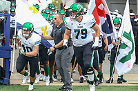 Annapolis, MD - October 26, 2019: Tulane Green Wave runs on the field before the game between Tulane and Navy at  Navy-Marine Corps Memorial Stadium in Annapolis, MD.   (Photo by Elliott Brown/Media Images International)