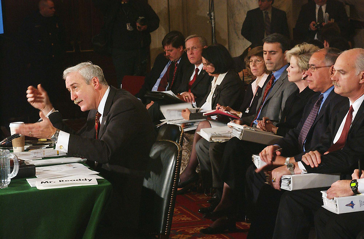 2/12/03.JOINT HEARING ON SPACE SHUTTLE COLUMBIA ACCIDENT--NASA Administrator Sean O'Keefe testifies during a joint hearing of Senate Commerce and House Science Subcommittee on Space and Aeronautics to examine the recent space shuttle Columbia accident. NASA personnel occupy the seats behind O'Keefe..CONGRESSIONAL QUARTERLY PHOTO BY SCOTT J. FERRELL