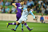 Melbourne, 23 April 2017 - BRUCE KAMAU (11) of Melbourne City loses the ball in the Elimination Final 2 of the A-League between Melbourne City and Perth Glory at AAMI Park, Melbourne, Australia. Perth won 2-0. Photo Sydney Low/sydlow.com