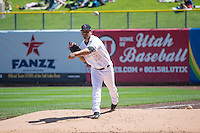 Edgar Ibarra (23) of the Salt Lake Bees during the game against the Reno Aces in Pacific Coast League action at Smith's Ballpark on May 10, 2015 in Salt Lake City, Utah.  Salt Lake defeated Reno 9-2 in Game One of the double-header. (Stephen Smith/Four Seam Images)