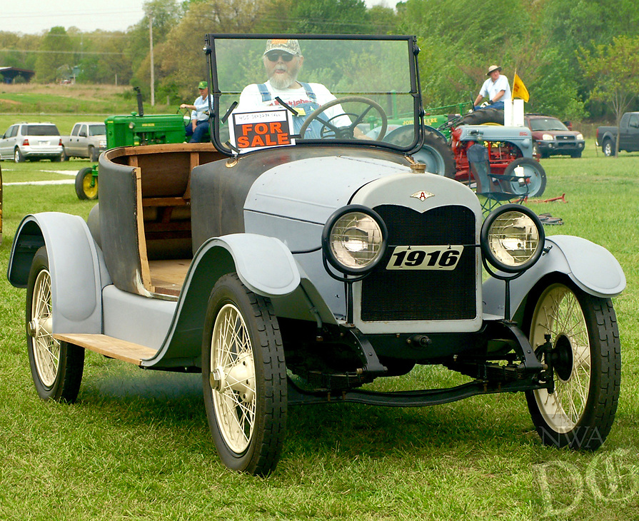 Photo by Randy Moll<br /> David Jones of Jay, Okla., drove his 1916 Abbot Motors car during the Parade of Power held at noon on Friday (April 14, 2017) at the Tired Iron of the Ozarks show in Gentry.