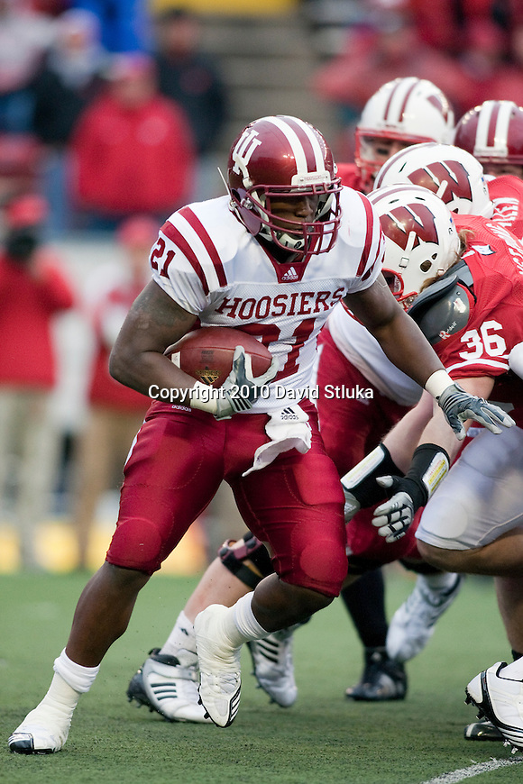 Indiana Hoosiers running back Trea Burgess (21) carries the ball during an NCAA college football game against the Wisconsin Badgers on November 13, 2010 at Camp Randall Stadium in Madison, Wisconsin. The Badgers won 83-20. (Photo by David Stluka)