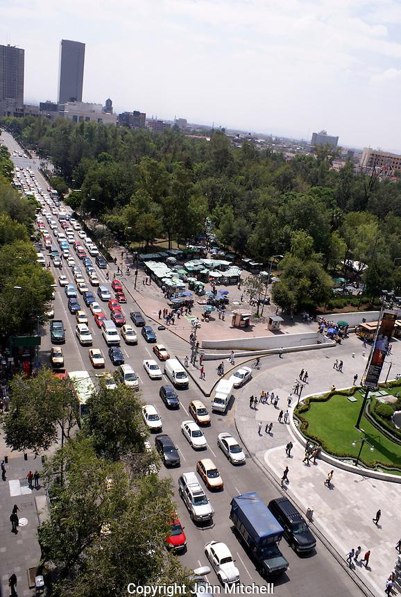 Traffic congestion on Avenida Juarez in downtown Mexico City