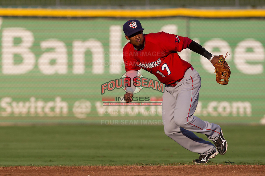Oklahoma City RedHawks second baseman Jimmy Paredes #17 on defense during the Pacific Coast League baseball game against the Round Rock Express on June 15, 2012 at the Dell Diamond in Round Rock, Texas. The Express shutout the RedHawks 2-1. (Andrew Woolley/Four Seam Images).