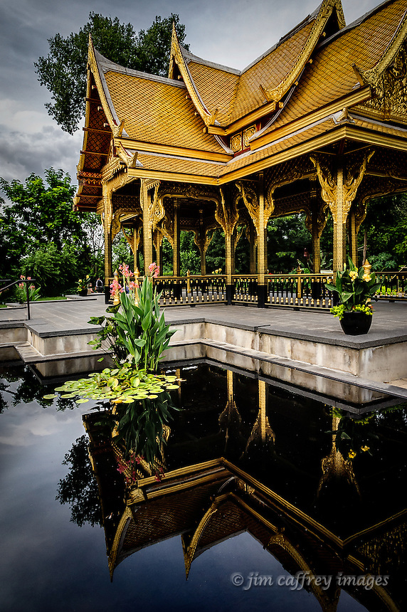 The Thai Pavilion and reflecting pool at Olbricht Botanical Gardens in Madison, Wisconsin.