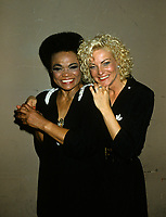 "Montreal (Qc) CANADA - August 8,1986 File Photo -<br /> <br /> Eartha Kitt (L) concert with Marjo (R) in Montreal.<br /> <br /> Eartha Mae Kitt (born on January 17, 1927)[1] is an American actress, singer, and cabaret star. She is known for her role as Catwoman in the 1960s TV series Batman, and for her 1953 Christmas song ""Santa Baby."" Orson Welles once called her ""the most exciting woman in the world."".<br /> <br /> Marjolène Morin (born 2 August 1953 in Montreal, Quebec), professionally known as Marjo, is a francophone Canadian singer-songwriter. After singing in two musicals of François Guy, Marjo joined the band Corbeau in 1979, two years after the group was started by Pierre Harel.<br /> <br /> Her solo career began shortly after Corbeau disbanded with the theme song for the film La Femme de l'hôtel which earned a Genie Award for Best Original Song in 1985. In 1986, her debut album Celle qui va sold more than 250 000 copies.<br /> <br /> -Photo (c)  Images Distribution"