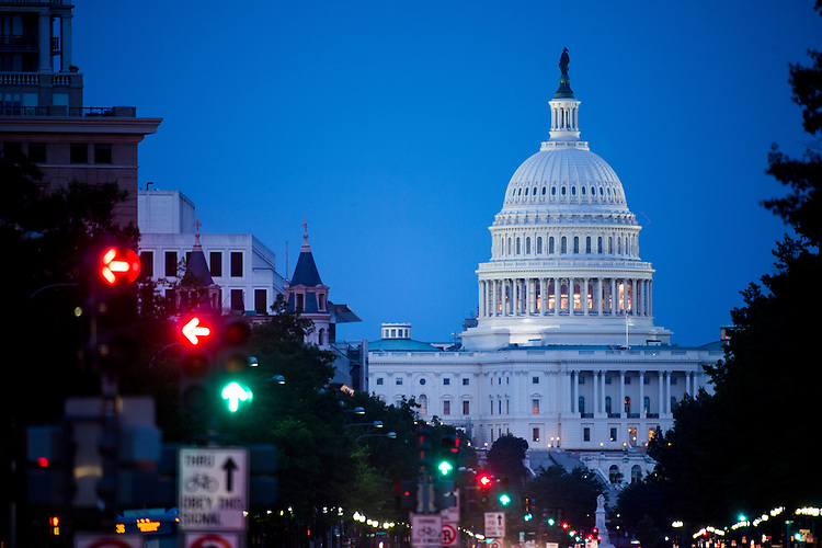 UNITED STATES - JULY 12: The U.S. Capitol as seen from Freedom Plaza on Pennsylvania Avenue on Saturday night, July 12, 2014.  (Photo By Bill Clark/CQ Roll Call)