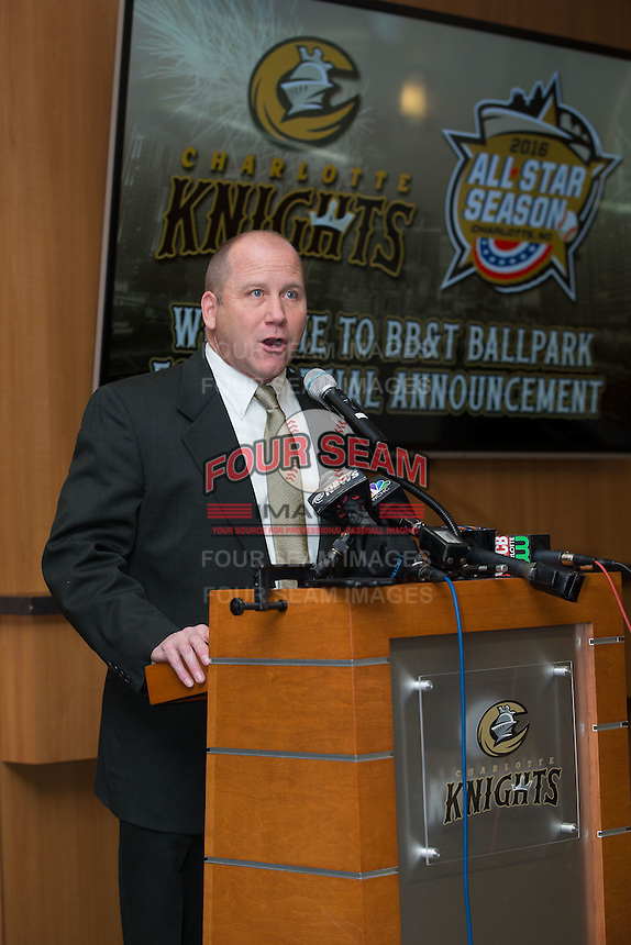 Scotty Brown, General Manager of Baseball Operations for the Charlotte Knights, addresses the press at BB&T Ballpark on February 17, 2016 in Charlotte, North Carolina.  (Brian Westerholt/Four Seam Images)