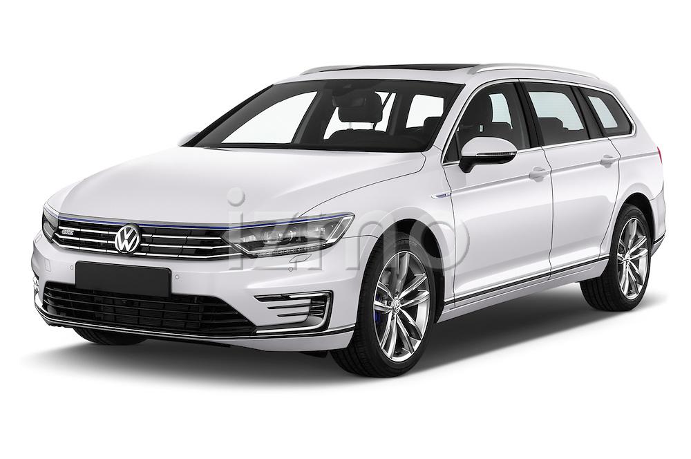 2016 Volkswagen Passat-Variant GTE 5 Door wagon Angular Front stock photos of front three quarter view