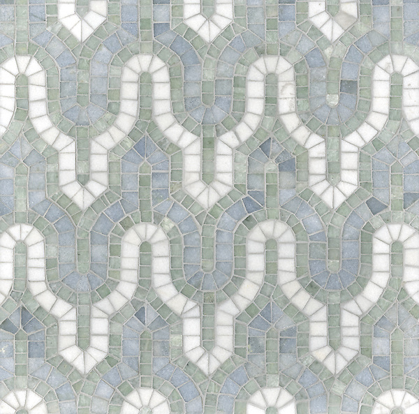 Kasbah, a hand-cut mosaic shown in Thassos, Celeste, and Ming Green, is part of the Silk Road collection by Sara Baldwin for New Ravenna.