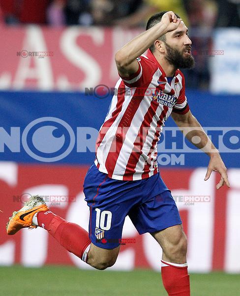 Atletico de Madrid's Arda Turan celebrates goal during Champions League 2013/2014 match.March 11,2014. (ALTERPHOTOS/Acero)