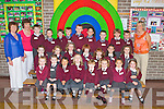 Junior Infants from St Bridget's NS School who started their school journey last Friday, pictured here with Teacher Mary Nolan, Breda McVeagh(SNA) and school principal Carmel Fitzgerald.
