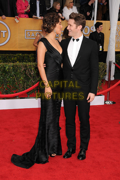 Renee Puente, Matthew Morrison.Arrivals at the 19th Annual Screen Actors Guild Awards at the Shrine Auditorium in Los Angeles, California, USA..27th January 2013.SAG SAGs full length black white dress shirt tuxedo couple profile.CAP/ADM/BP.©Byron Purvis/AdMedia/Capital Pictures