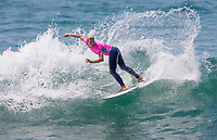 Huntington Beach, CA - Sunday August 06, 2017: Sage Erickson during a World Surf League (WSL) Qualifying Series (QS) Semifinal heat in the 2017 Vans US Open of Surfing on the South side of the Huntington Beach pier.