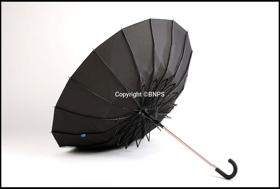 BNPS.co.uk (01202 558833)<br /> Pic: Kisha/BNPS<br /> <br /> The unique springs of the umbrella allow it to flip back easily if blown inside out.<br /> <br /> The world's first smart umbrella that is being heralded as the last one you will ever need to buy has been invented.<br /> <br /> The Kisha umbrella uses innovative technology which means the brolly can never get lost as it tells the owner when and where they last had it.<br />  <br /> It is also made from a robust material that can withstand 120mph winds - stronger than a hurricane - without breaking, eradicating the throw-away nature of broken brollies.