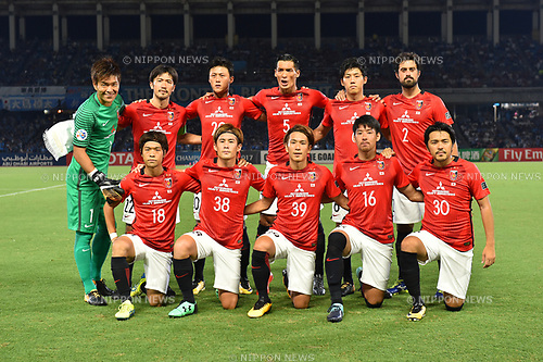 Urawa Reds team group line-up,<br /> AUGUST 23, 2017 - Football / Soccer :<br /> Urawa Reds team group shot (Top row - L to R) Shusaku Nishikawa, Yuki Abe, Tadanari Lee, Tomoaki Makino, Wataru Endo, Mauricio, (Bottom row - L to R) Yoshiaki Komai, Daisuke Kikuchi, Shinya Yajima, Takuya Aoki and Shinzo Koroki before the AFC Champions League Quarter-finals 1st leg match between Kawasaki Frontale 3-1 Urawa Red Diamonds at Todoroki Stadium in Kanagawa, Japan. (Photo by AFLO)