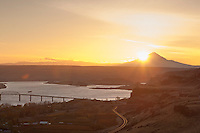 A view of Mt Hood with sunset and the Columbia River,  near Maryhill Museum of Art in the Columbia River Gorge National Scenic Area