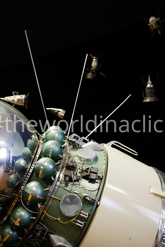 RUSSIA, Moscow. An old Soviet satellite on view at the Polytechnic Museum.